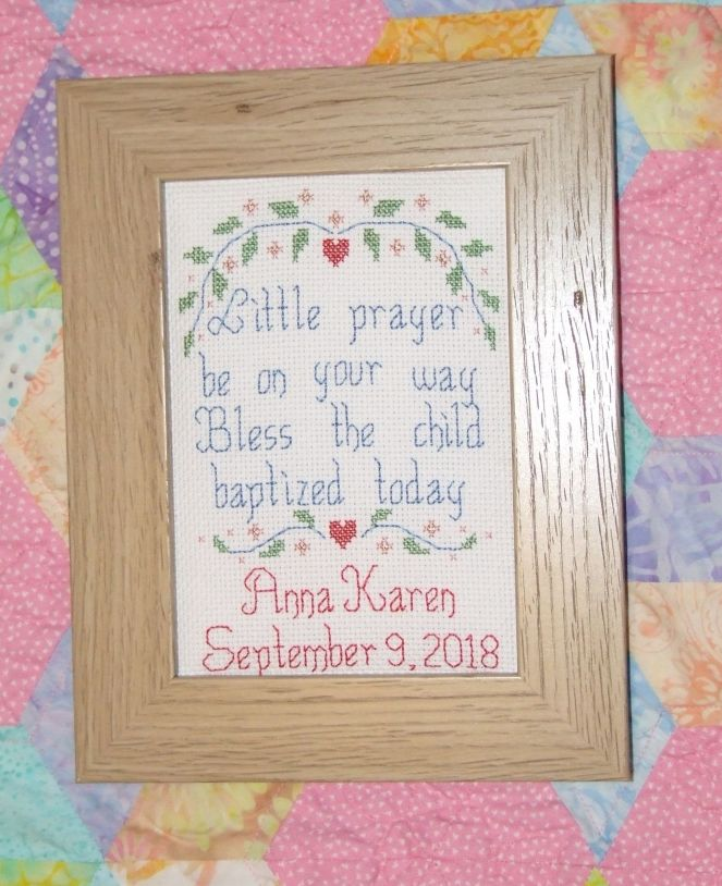 Baptismal Cross Stitch Finished!